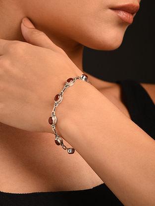 Silver Bracelet With Carnelian