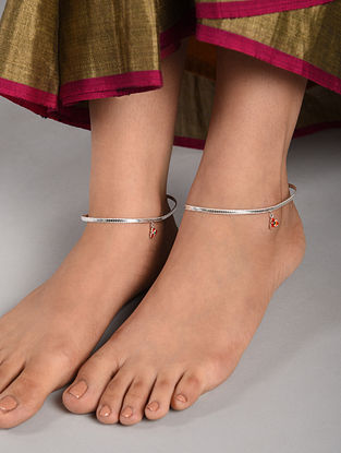 Red Tribal Silver Anklets