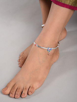 Blue Yellow Tribal Silver Anklets