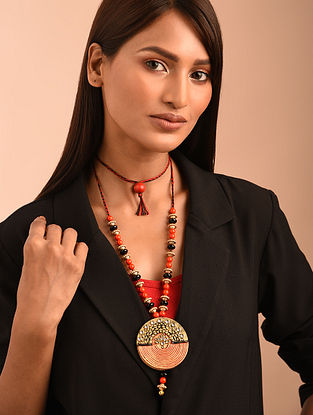 Black Red Gold Tone Handcrafted Necklace