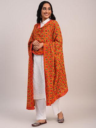 Multicolour Handwoven Crepe Silk Dupatta