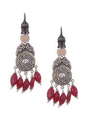 Maroon Vintage Silver Earrings