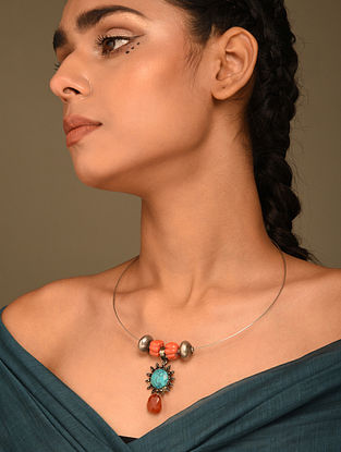 Vintage Silver Hasli Necklace with Coral and Turquoise