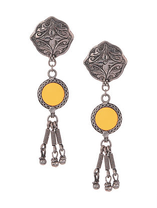 Yellow Vintage Silver Glass Earrings
