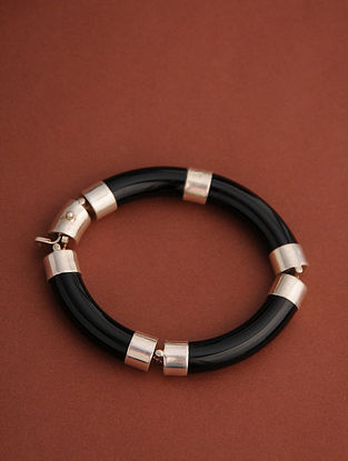 Black Silver Openable Cuff with Onyx