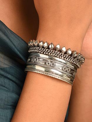 Vintage Silver Glass Cuff
