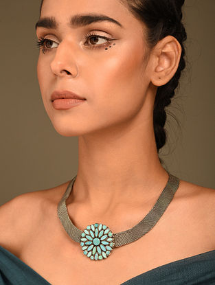 Vintage Silver Necklace with Turquoise