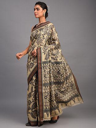 Beige Kalamkari Silk Saree