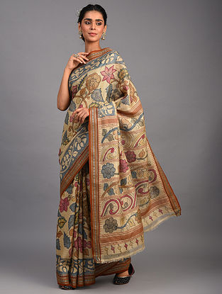Brown Kalamkari Silk Saree