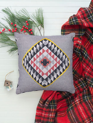 Multicolor Cotton Cushion Cover with Geometric Print (L - 17.5in, W - 16.5in)