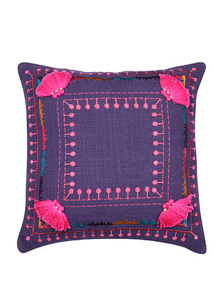 Multicolor Embroidered Cotton Cushion Cover with Pink Pom Pom (L - 17in, W - 17in)