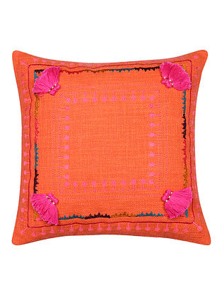 Multicolor Embroidered Cotton Cushion Cover with Pink Pom Pom (L - 17.5in, W - 17.5in)