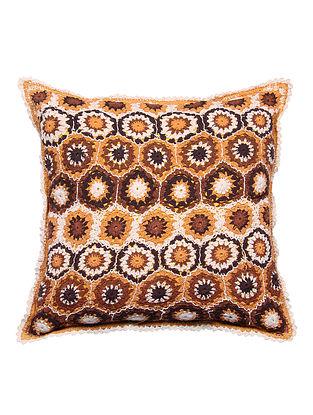 Multicolor Handmade Cotton Crochet Cushion Cover (L - 19.5in, W - 19.5in)