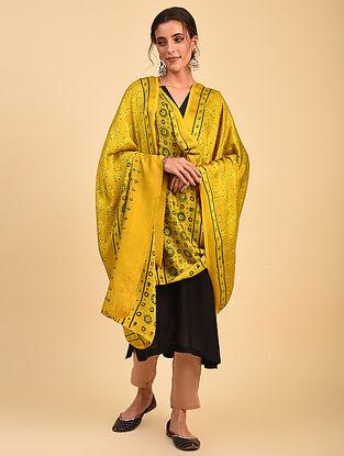 Yellow Ajrakh Printed Modal Dupatta