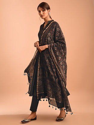 Black Ajrakh Printed Modal Dupatta With Zari