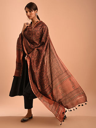 Red Ajrakh Printed Silk Dupatta