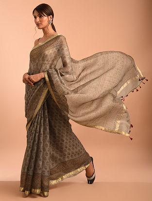 Brown Ajrakh Printed Kota Silk Saree