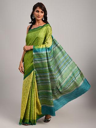 Green Block Printed Tussar Saree