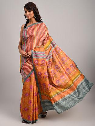 Orange Block Printed Tussar Saree