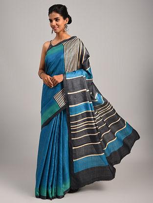 Blue Block Printed Tussar Saree