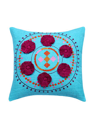 Multicolor Embroidered Cotton Cushion Cover with Maroon Pom Pom (L - 17in, W - 17in)