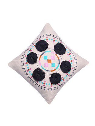 Multicolor Embroidered Cotton Cushion Cover with Black Pom Pom (L - 18in, W - 17.5in)
