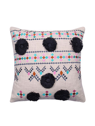 Multicolor Embroidered Cotton Cushion Cover with Black Pom Pom (L - 17.5in, W - 17.5in)