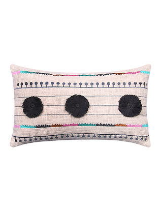 Multicolor Embroidered Cotton Cushion Cover with Black Pom Pom (L - 19in, W - 11.5in)