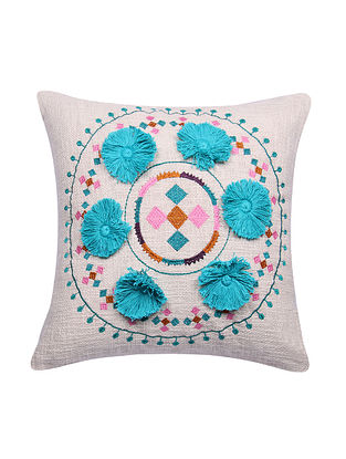 Multicolor Embroidered Cotton Cushion Cover with Turquoise Pom Pom (L - 17.5in, W - 17in)