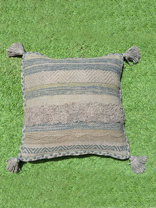 Natural Cotton Boho Cushion Cover (L - 18.5in, W - 17.5in)