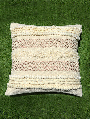 Natural Cotton Boho Cushion Cover (L - 16.5in, W - 16.5in)