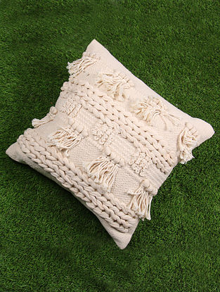 Natural Cotton Boho Cushion Cover (L - 17.5in, W - 17.5in)
