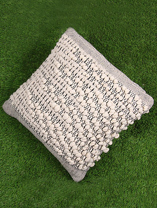 Natural and Black Cotton Boho Cushion Cover (L - 17in, W - 17in)