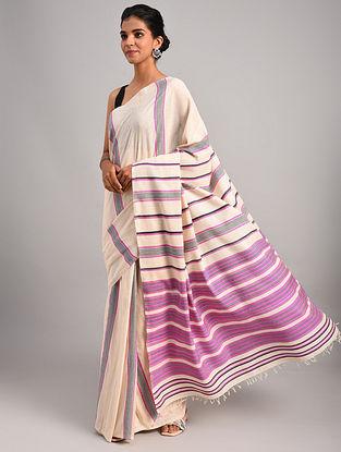 Off White Handwoven Cotton Eri Silk Saree