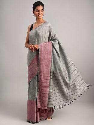 Grey Handwoven Cotton Eri Silk Saree
