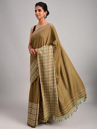 Green Handwoven Cotton Eri Silk Saree