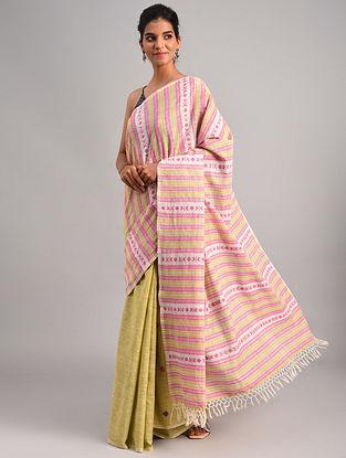 Pink - Yellow Handwoven Cotton Eri Silk Saree