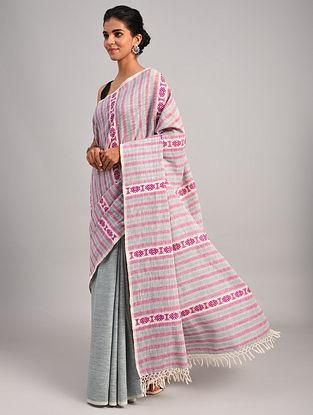 Pink - Grey Handwoven Cotton Eri Silk Saree