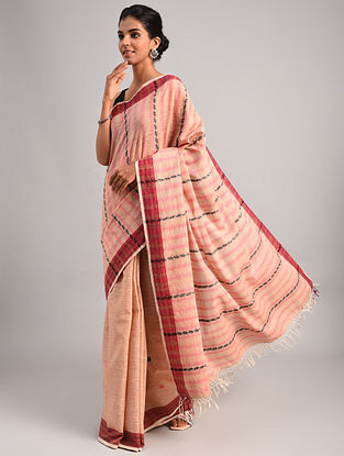 Pink Handwoven Cotton Eri Silk Saree