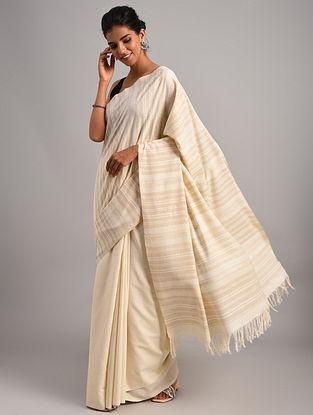 Off White Handwoven Eri Silk Saree