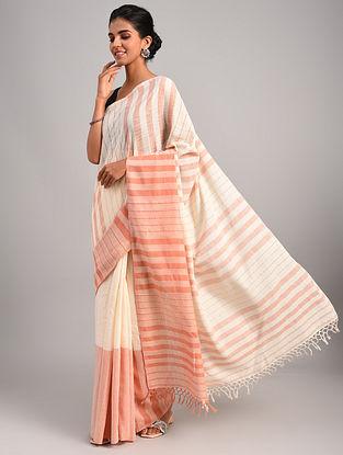 Off White - Pink Handwoven  Eri Silk Saree