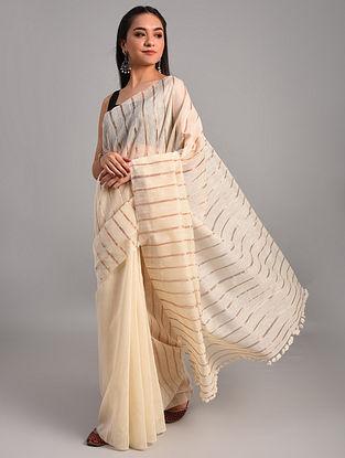 Off White Handwoven Eri Mulberry Silk Saree