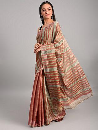 Multicolour Handwoven Muga Eri Silk Saree