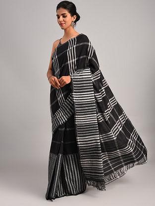 Black Handwoven Cotton  Saree