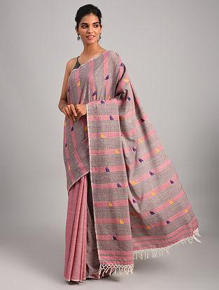 Grey - Pink Handwoven Cotton  Saree