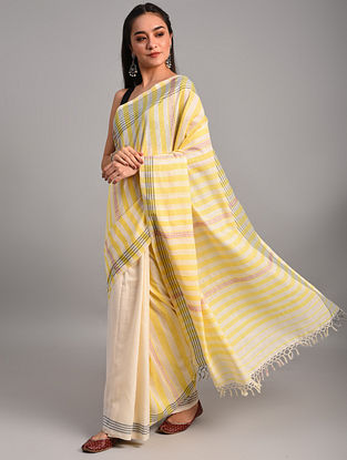 Off White - Yellow Handwoven Cotton  Saree