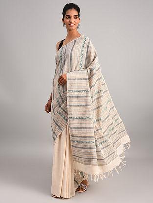 Off White Handwoven Cotton  Saree