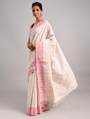 Off White - Pink  Handwoven Cotton  Saree