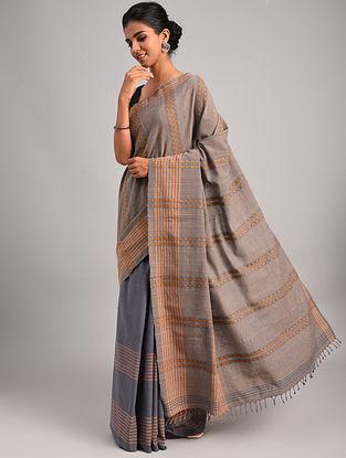 Brown Handwoven Cotton Eri Silk Saree