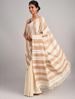 Off White - Pink Handwoven Cotton Eri Silk Saree